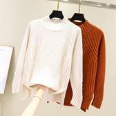 慵懶風半高領套頭毛衣2019秋冬新款韓版女加厚寬鬆甜美網紅針織衫