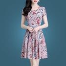 印花雪紡洋裝女夏季2021新款女裝洋氣修身顯瘦有女人味短袖 快速出貨