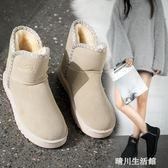 雪地靴女短靴新款平底百搭低幫靴子2018韓版加絨毛毛鞋冬保暖女靴 晴川生活館