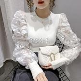 新款早秋季韓版洋氣個性圓領修身顯瘦泡泡袖蕾絲t桖上衣女裝 雙十一全館免運