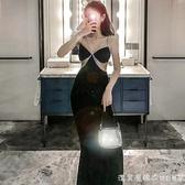 可甜可鹽重工鉆條吊帶裙夏性感撞色氣質連衣裙女神范宴會禮服長裙【美眉新品】