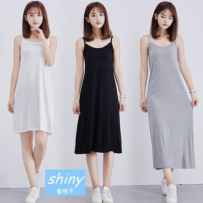 【V8157】shiny藍格子-鄰家甜美‧純色細肩帶洋裝