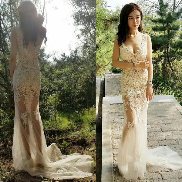 透視禮服 洋裝 性感晚禮服2020春季新款透明蕾絲長裙