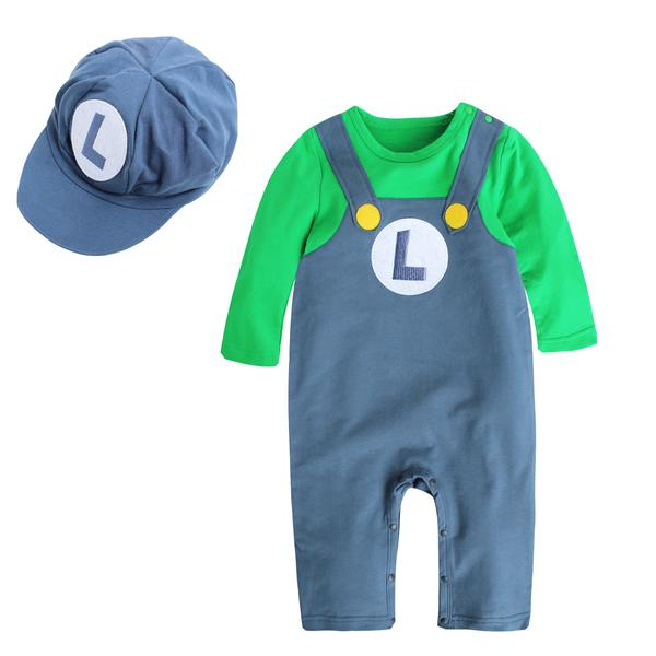 角色扮演寶寶造型服 假兩件吊帶連身衣(附帽子) 萬聖節 變裝派對 卡通多花色包屁衣 12019