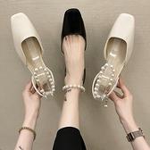 羅馬鞋 網紅涼鞋女夏仙女風2021新款時尚百搭粗跟包頭珍珠羅馬單鞋ins潮 夢藝家