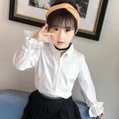 女童襯衣秋裝2019新款韓版洋氣上衣中大童純棉打底衫兒童白襯衫潮