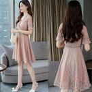 洋裝 短袖蕾絲V領粉色 韓版 婚禮小禮服...