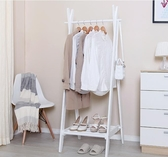 M-創意衣帽架多功能實木落地臥室木質掛衣架簡約現代衣服架(白色-中號)【首圖款】