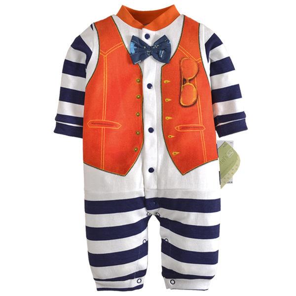 EMMA商城~長袖連身兔裝 假兩件可愛紳士條紋造型寶寶連身衣.包屁衣