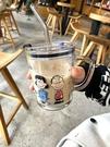 早餐杯 吸管杯可愛學生水杯家用兒童早餐牛奶杯帶刻度帶把手玻璃杯子【快速出貨八折下殺】