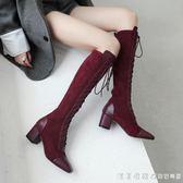 英倫新款酒紅色長筒真皮繫帶長靴女冬高跟馬丁靴綁帶及膝高筒靴子 漾美眉韓衣