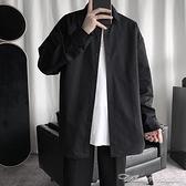 外套秋季黑色長袖襯衫男士寬鬆韓版潮流休閒帥氣外套痞帥白襯衣寸衣服