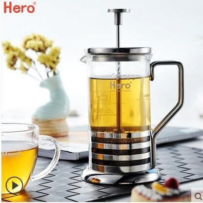 法壓壺 不銹鋼咖啡壺 玻璃沖茶器 法壓式咖啡濾壓壺濾杯