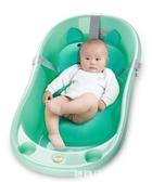 嬰兒浴兜 寶寶洗澡架嬰兒洗澡神器網兜可坐躺新生通用海綿浴墊沖涼架網