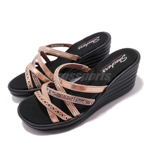 Skechers 涼拖鞋 Rumbler Wave-New Lassie 金 黑 高跟 增高 女鞋 涼鞋【ACS】 31777RSGD