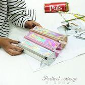 創意鐳射學生筆袋大容量收納包時尚女士化妝包韓版純色百搭文具盒·蒂小屋服飾