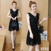 小個香風蕾絲洋裝收腰顯瘦流行氣質V領無袖連身裙女夏2020新款韓版 EY11250『美好时光』