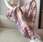 休閑運動褲 格子褲S-2XL格子褲女初秋薄寬松束腳闊腿顯瘦夏休閑運動褲2606 D708-D 胖妞衣櫥