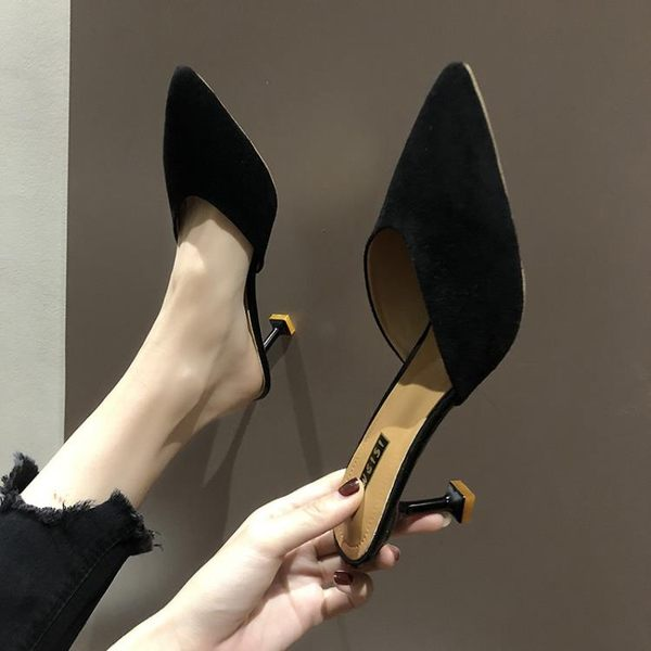 尖頭細跟后空chic高跟涼鞋2019夏季新款女鞋子百搭包頭貓跟涼拖鞋 後街五號