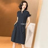 春夏季新款時尚休閒氣質Polo領中長裙修身顯瘦波點洋裝女 快速出貨