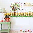 壁貼【橘果設計】柵欄樹木 DIY組合壁貼...