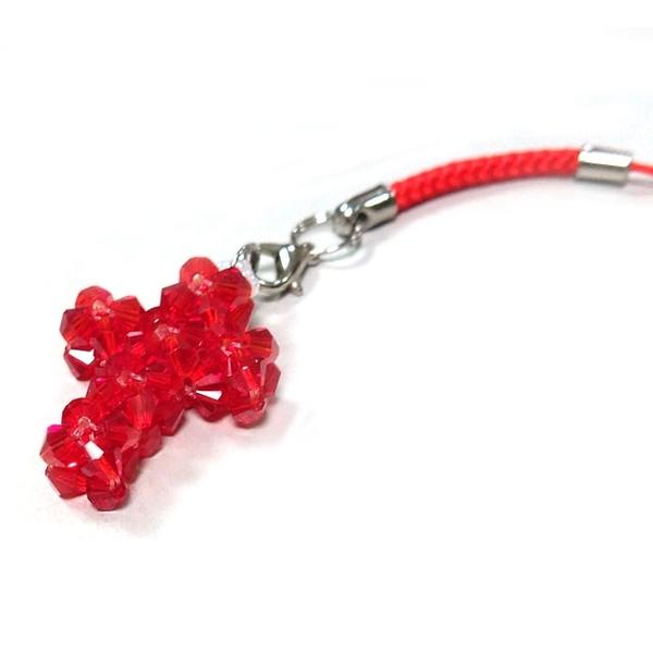 彩色水晶手工串珠十字吊飾