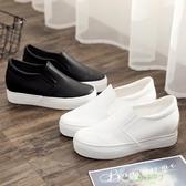 厚底鞋 皮面內增高小白鞋女秋款學生百搭厚底套腳一腳蹬懶人鞋松糕鞋