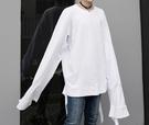 FINDSENSE Z1 韓國 時尚 潮 男 寬鬆大尺碼 超長衣袖 下擺破壞設計