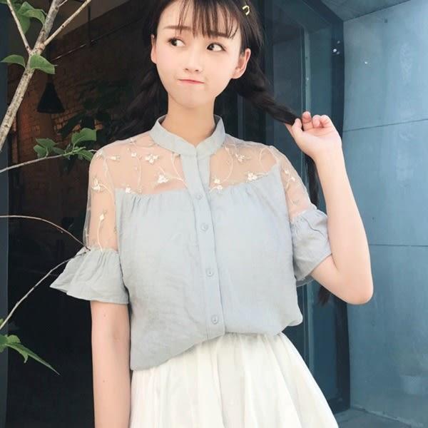 [超豐國際]夏季透視網紗拼接蕾絲雪紡衫女喇叭袖娃娃衫打底上衣1入