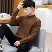 冬季毛衣男士韓版半高領毛衣加厚保暖針織衫個性線衣打底衫外套潮     MOON衣櫥