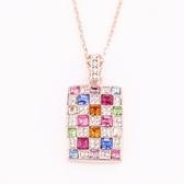 項鍊 925純銀 鑲鑽銀飾墜子-方形造型生日情人節禮物女飾品6色73aj466【時尚巴黎】
