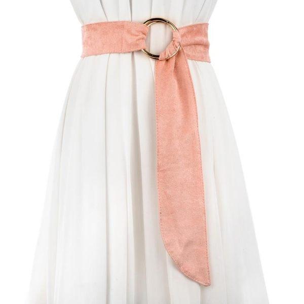 窄版皮帶腰帶女麂皮絨百搭配洋裝大衣裝飾時尚圓環打結寬皮帶女雙環扣褲帶