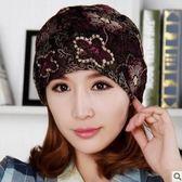 全館免運八折促銷-正韓女士春秋天薄款蕾絲巾頭巾帽套頭帽月子帽堆堆帽包頭帽子圍脖