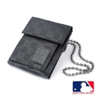 Backbager 背包族【MLB 美國大聯盟 洋基】直式 魔鬼氈 皮夾/短夾/錢包-黑色