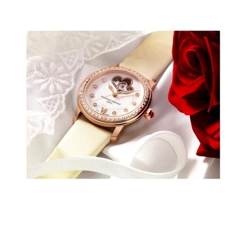 CONSTANT 康斯登/愛心縷空玫瑰金皮錶腕錶/310WHF2PD4