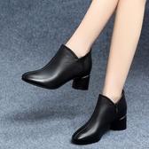 裸靴秋季新款單靴女韓版短靴中跟百搭粗跟大東高跟裸靴真皮小皮鞋 小天使