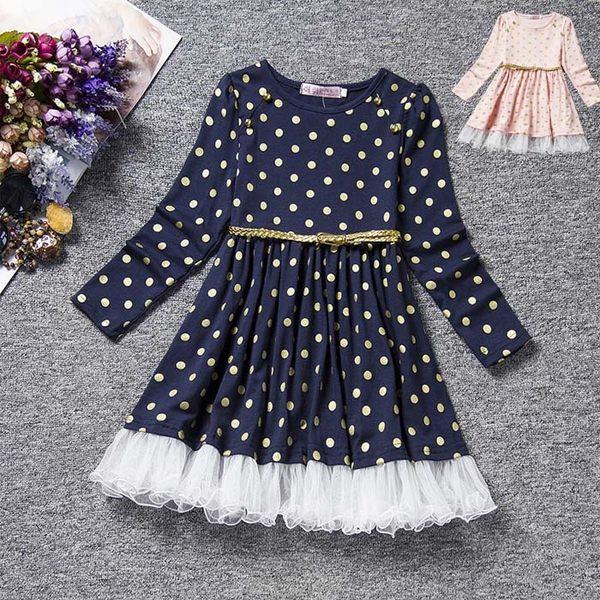 女童 點點控 圓點 棉質 長袖連身裙 長袖洋裝+腰帶 二色 寶貝童衣