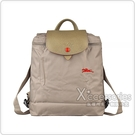 LONGCHAMP刺繡LOGO尼龍摺疊拉鍊後背包(棕x紅)