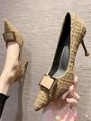 高跟鞋 黑色高跟鞋細跟女鞋子2021年新款職業法式名媛氣質尖頭淺口單鞋女 愛丫 免運