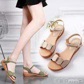 平底涼鞋   涼鞋女夏平底百搭平跟防滑軟底舒適孕婦學生羅馬休閒女鞋  瑪麗蘇