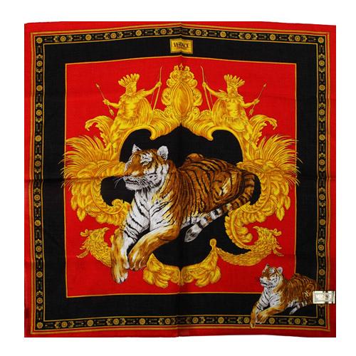 VERSACE 凡賽斯 古典藝術華麗老虎帕巾(紅色)989017-30