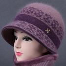 中老年人秋冬天帽子女奶奶兔毛線帽媽媽加絨厚保暖老太太針織棉帽 黛尼時尚精品