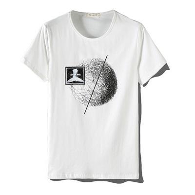 短袖T恤-絲光棉線條圓圈印花男上衣3色73mj35[巴黎精品]