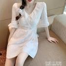 氣質白色裙子女夏裝新款復古洋氣V領收腰顯瘦泡泡袖洋裝潮 有緣生活館