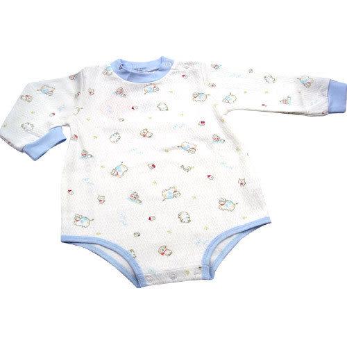 【奇買親子購物網】GMP BABY 小牛半高領肩開連身衣(藍色)