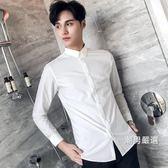 長袖襯衫男士長袖襯衫青年修身時尚寸衣正韓商務休閒正裝發型師襯衫M-3XL
