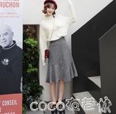 半身魚尾裙2020春新款韓版女裝千鳥格魚尾裙中長半身裙OR8120瓔 coco衣巷