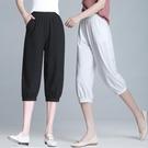 夏季寬鬆七分褲女薄款胖mm200斤大碼中年媽媽褲子高腰燈籠褲馬褲
