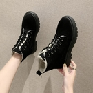馬丁靴女秋冬新款網紅百搭加絨保暖厚底短靴防滑系帶雪地棉靴 星河光年