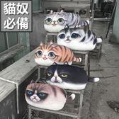 3D肥版大眼喵星人抱枕沙發靠墊 貓咪抱枕 交換禮物生日聖誕節【RS507】
